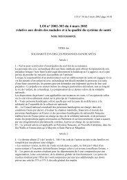 LOI n° 2002-303 du 4 mars 2002 relative aux droits des malades et ...