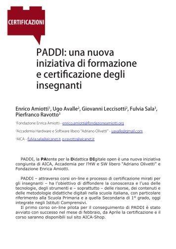 PADDI: una nuova iniziativa di formazione e certificazione degli ...