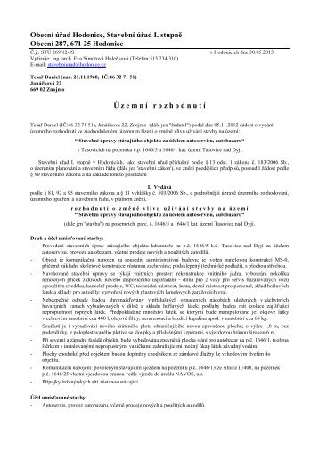 Obecní úřad Hodonice, Stavební úřad I. stupně ... - Obec Hodonice