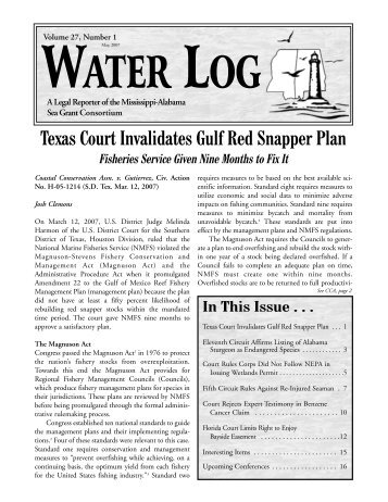 Texas Court Invalidates Gulf Red Snapper Plan - Mississippi ...