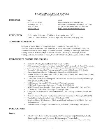Curriculum Vitae French Italian Languages And Literatures