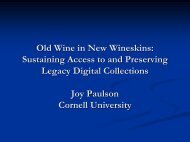 Old Wine in New Wineskins: Sustaining Access to and Preserving ...