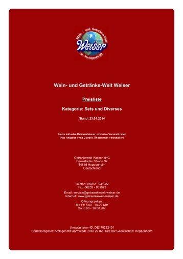Preisliste für Kategorie: Sets und Diverses - und Getränke-Welt Weiser