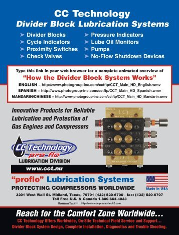 Link to CCT Product Brochure - CC Technology Lubrication Division