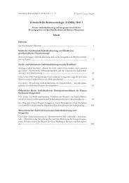 Zeitschrift für Rechtssoziologie 31 (2010), Heft 1 Inhalt