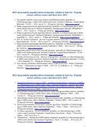 2013 metų mokslo populiarinimo straipsniai, rašiniai ir interviu ...