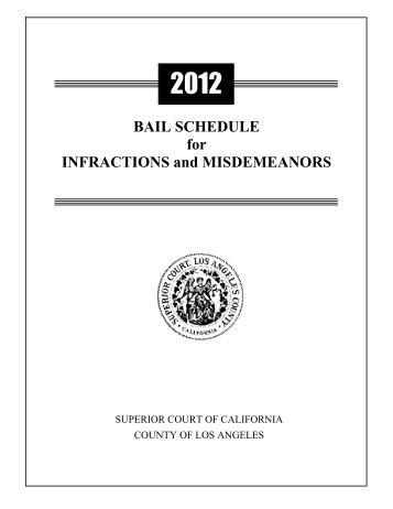 BAIL SCHEDULE for INFRACTIONS and MISDEMEANORS