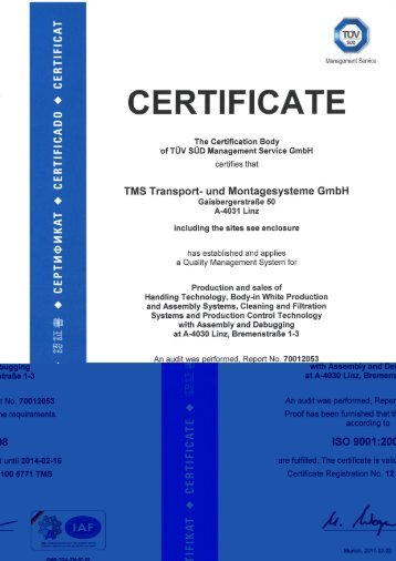 CERTIFICATE - TMS