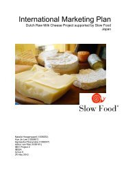 9 Intended positioning of Dutch Raw Milk cheese - Slow Food ...