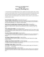 Summer Reading List - Dutchman Creek Middle School