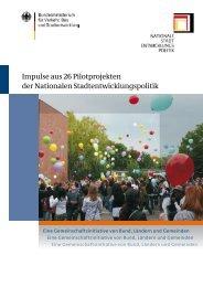 Impulse aus 26 Pilotprojekten der - Nationale Stadtentwicklungspolitik