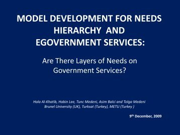 model development for needs hierarchy and egovernment services