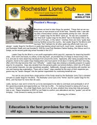 Newsletter 2008-03 (March) - Rochester Lions Club