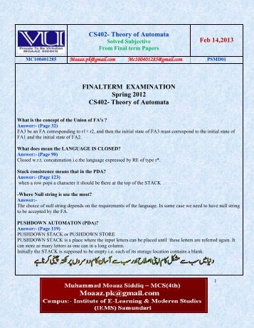 cs 201 mid term solved papers Cs201- introduction to programming latest solved mcqs from midterm papers  mc100401285 lectures 1-22 bc100400662 moaazpk@gmailcom.