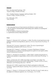 Michael Weinstock CV and Publication List