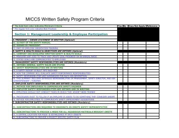 MICCS minimum criteria document