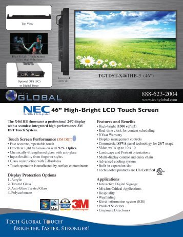 """46"""" High-Bright LCD Touch Screen - Tech Global"""