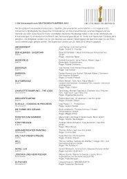 Die Vorauswahl zum DEUTSCHEN FILMPREIS 2012 ...