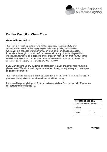 Further Condition Claim Form - Veterans Agency