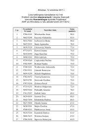 Wrocław, 12 września 2011 r. Lista rankingowa kandydatów na I rok ...