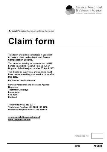 Claim form - Veterans Agency