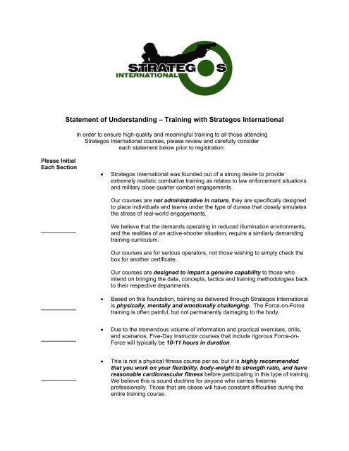 Statement of Understanding – Training with Strategos International