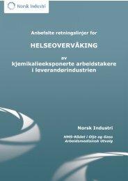 Anbefalte retningslinjer for helseovervåking av ... - Norsk Industri