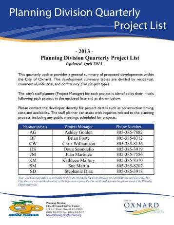 Project List Cover - Development Services - City of Oxnard