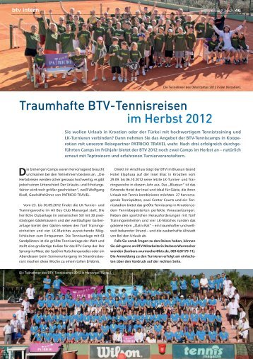 Traumhafte BTV-Tennisreisen im Herbst 2012 - Patricio Travel