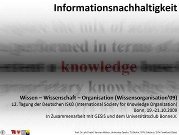 Wissen – Wissenschaft – Organisation (Wissensorganisation'09)