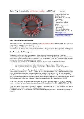 Balun (Typ Sperrglied) 1:1 undefinierte Impedanz bis 800 Watt