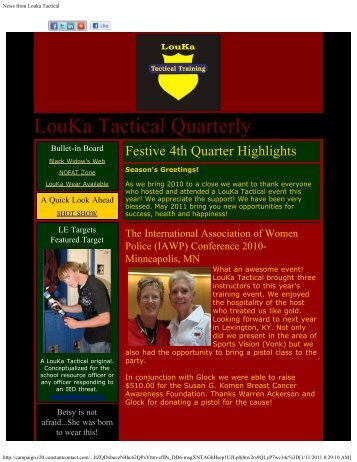 Fourth Quarter 2010 - LouKa Tactical Training, LLC