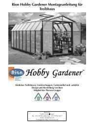Rion Hobby Gardener Montageanleitung für Treibhaus - Garten