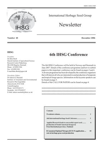 6th IHSG Conference - International Herbage Seed Group
