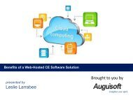 Benefits of a Web-Hosted CE Software Solution - Augusoft