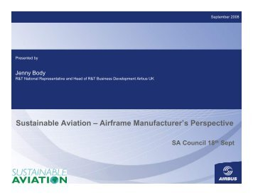 Sustainable Aviation – Airframe Manufacturer's Perspective