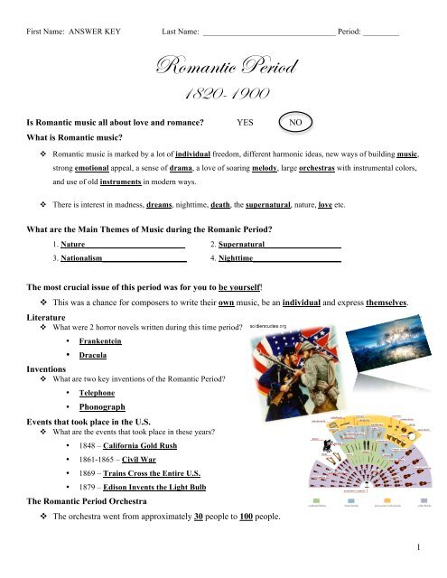 Romantic Period PowerPoint Worksheet Answer Key