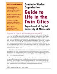 Guide to Life in the Twin Cities - Department of English - University ...
