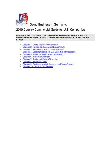 2010 Country Commercial Guide - Germany - North Carolina ...