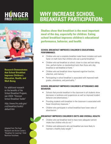 Fact Sheet On S  The Healthy HungerFree    National Pta