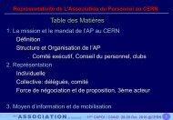 Représentativité de L'Association du Personnel au CERN