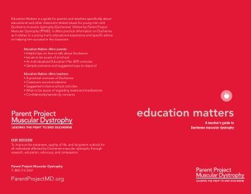 education matters - Parent Project Muscular Dystrophy