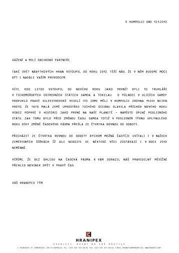 V Humpolci dne 12.1.2012 Vážení a milí obchodní ... - Hranipex