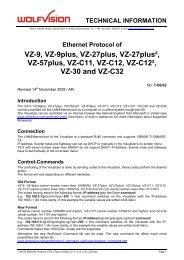 Ethernet Protocol of VZ-9, VZ-9plus, VZ-27plus, VZ ... - WolfVision
