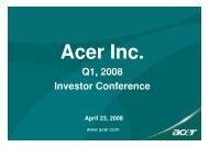 Investor Conference Presentation - Acer Group