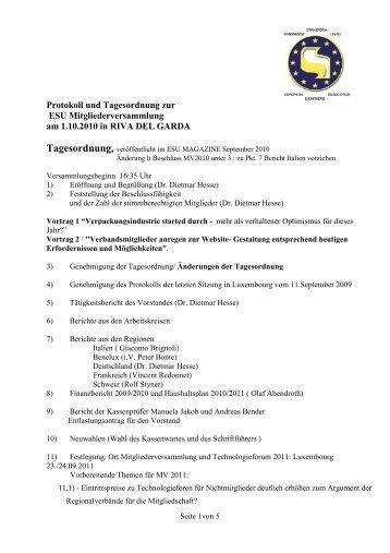 Protokoll und Tagesordnung zur ESU Mitgliederversammlung am ...