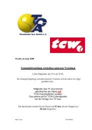 Gastspielregelung zwischen unseren Vereinen - Tennisclub Wedel