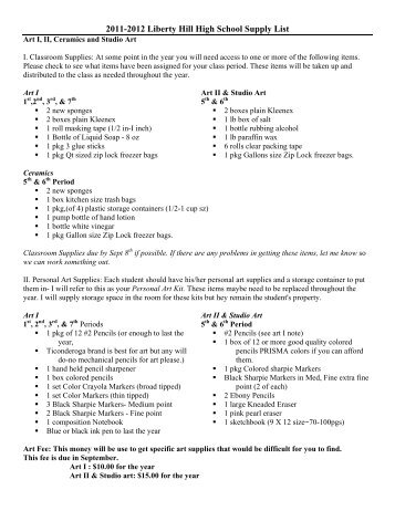 2011-2012 Liberty Hill High School Supply List - Liberty Hill ISD