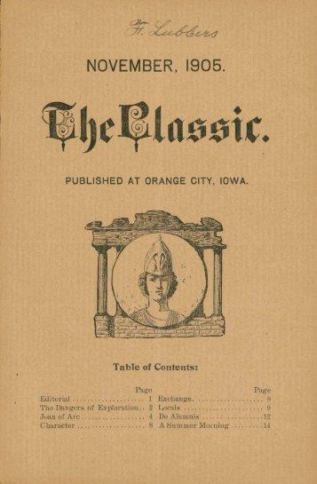 NOVEMBER, 1905. - Northwestern College