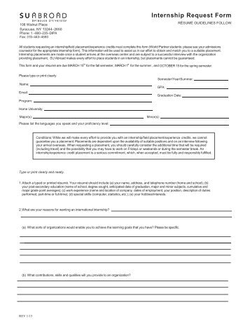 Internship Request Form - SU Abroad